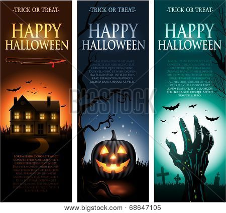 Vertical vector Halloween invitation banners eps10
