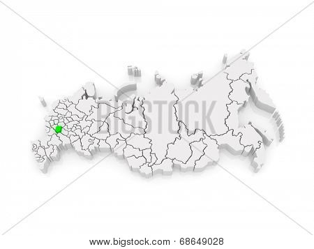 Map of the Russian Federation. Tambov region. 3d