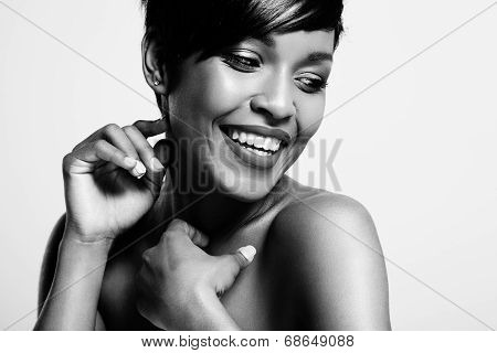 Bw Portrait Of Attractive Latin Woman