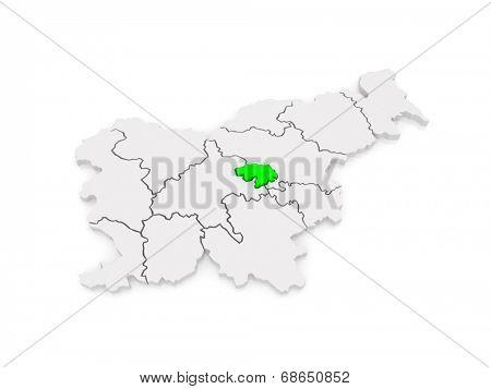 Map of Zasavsky region (Zasavska regia). Slovenia. 3d