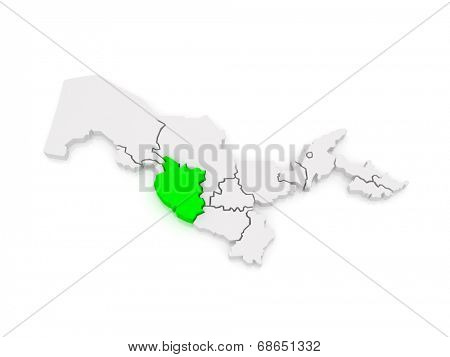 Map of Bukhara region. Uzbekistan. 3d