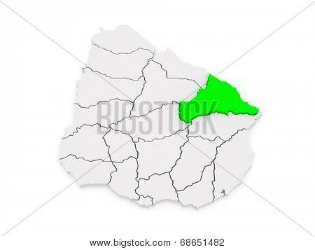 Map of Cerro Largo. Uruguay. 3d