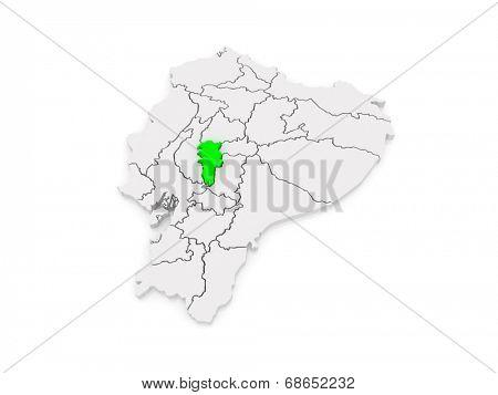 Map of Bolivar. Ecuador. 3d