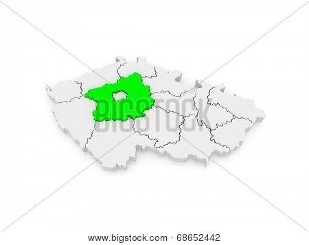 Map of Central Bohemian Region. Czech Republic. 3d