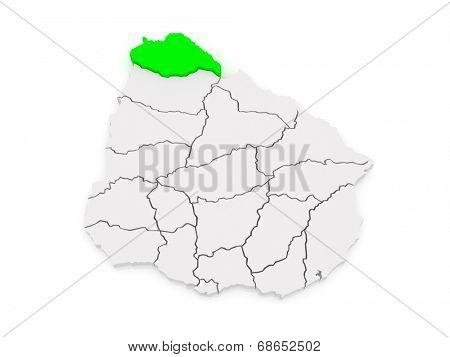 Map of Artigas. Uruguay. 3d