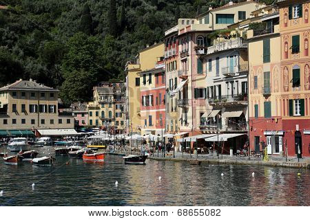 PORTOFINO, ITALY - MAY 04, 2014: Portofino is an Italian fishing village famous for its picturesque harbor and historical association with celebrity visitors, Portofino. Italy, on May 04, 2014.