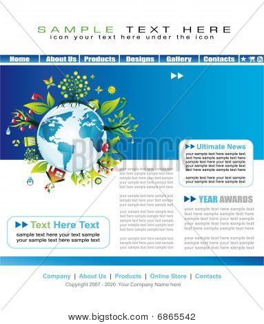 Enviromental Website Template With Earth Abstract Illustration