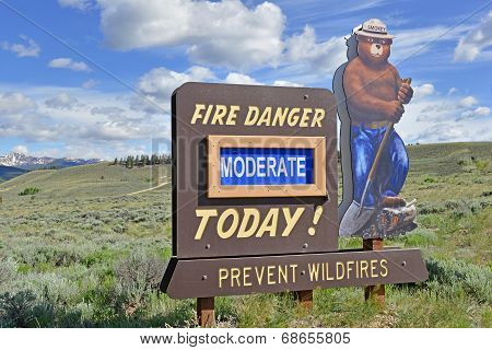Smokey Bear sign warning about forest fires