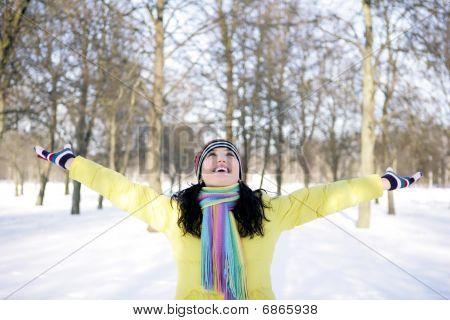 Happy girl in winter