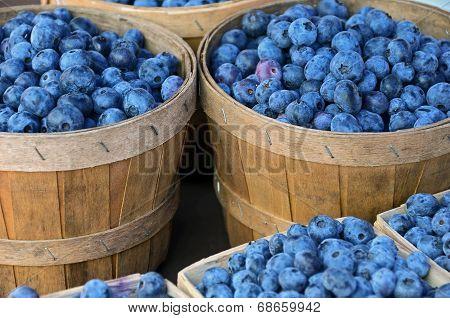 blueberries in wooden basket
