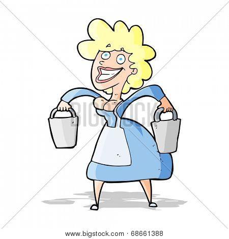 cartoon milkmaid carrying buckets