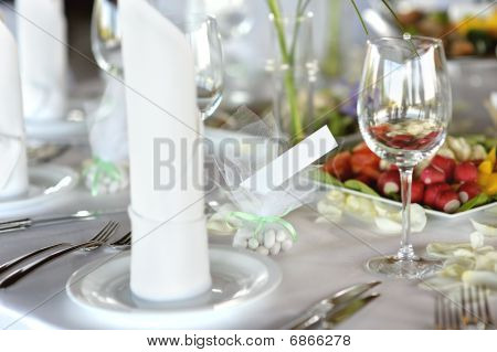 Empty Place Card On The Festive Table