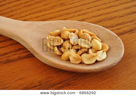 Peanuts On Wooden Spoon