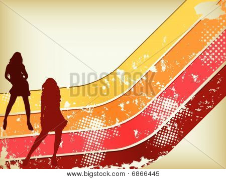 Retro  Grunge Background with two girls silhouettes.