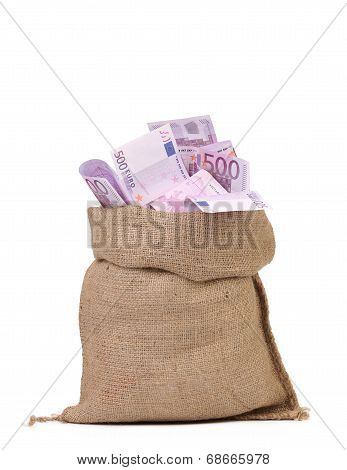 Sack with euro bills.