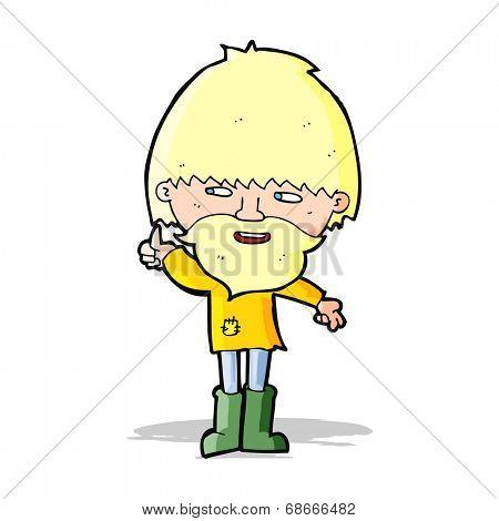 cartoon hippie man in wellington boots