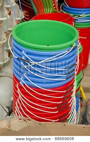Colorful Plastic Buckets In Asia Market