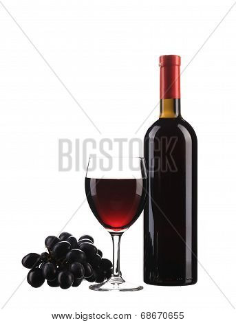 Red wine bottle and glass.