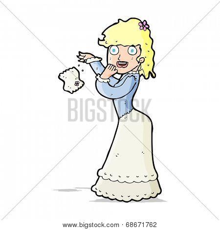 cartoon victorian woman dropping handkerchief
