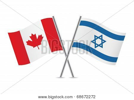 Canadian and Israeli flags. Vector illustration.