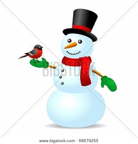 Vintage snowman with bird