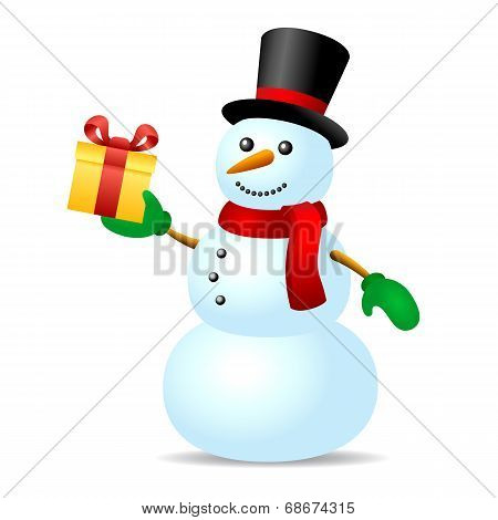 Snowman with present box