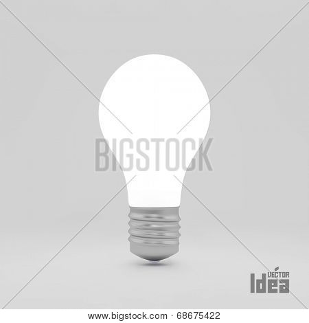 Lightbulb idea symbol. 3d vector illustration. Can be used as background for your business presentation.