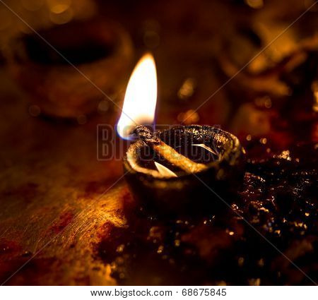 Burning candles in the Indian temple. Diwali -?? the festival of lights.