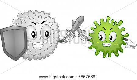 Mascot Illustration Featuring a White Blood Cell and an Antigen Fighting it Out