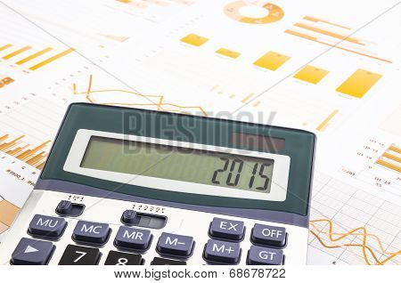 Graphs Background With 2015 Number On Calculator