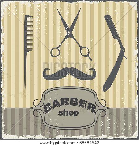 Barber Shop Vintage Retro Template. Vector