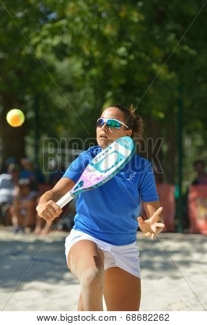 MOSCOW, RUSSIA - JULY 20, 2014: Federica Bacchetta of Italy in the final match against Brazil during ITF Beach Tennis World Team Championship. Italy won 2-0