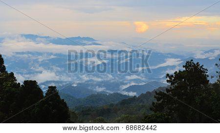 Sunset High Mountain Range View