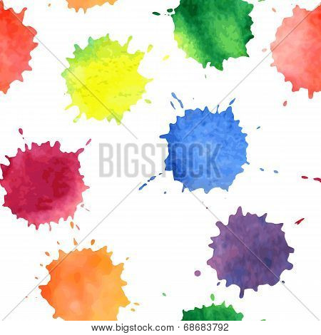 vector seamless pattern with watercolor spots