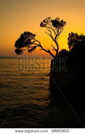 Brela Rock silhouette - Splendid seacoast of Croatia (Makarska riviera, Brela)
