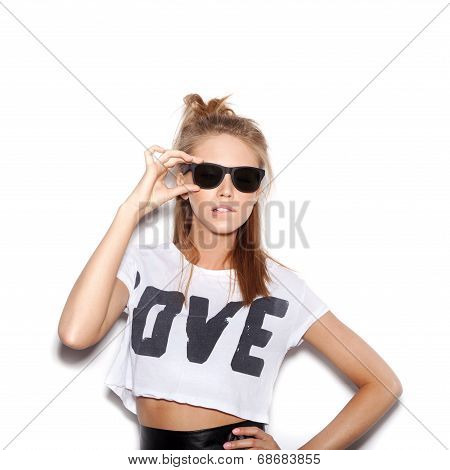 Girl With Sunglasses Looking At The Camera