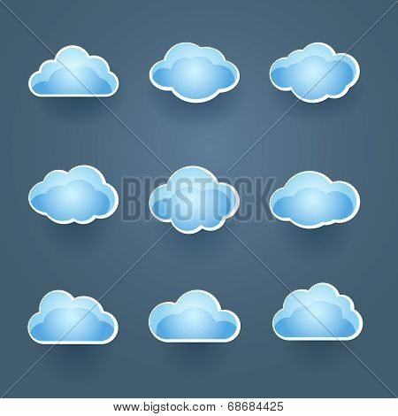 Set of blue vector cloud icons