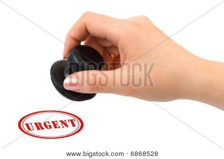Mão e carimbo urgente
