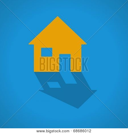 House web icon with shadow