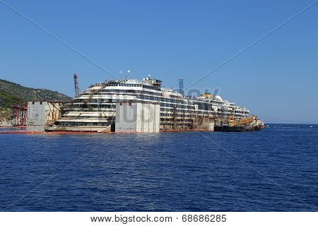 Giglio Island, Italy - July 19, 2014: Front View Of The Wreck Of Costa Concordia On July 19, 2014 In