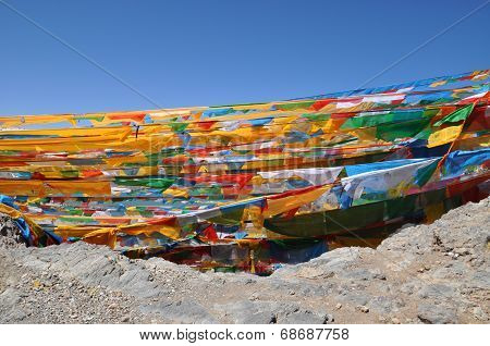 Mantra Flags Near the Namtso Lake