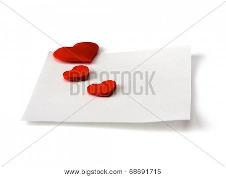 Postcard with red heart, isolated on white