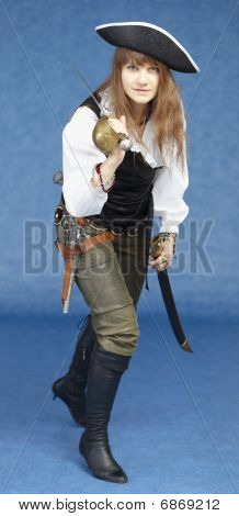 Aggressive Woman In Pirate Costume On Blue Background