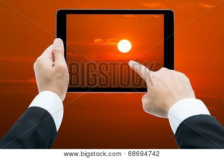 Businessman Hands Tablet Taking Pictures Sunrise Big Sun
