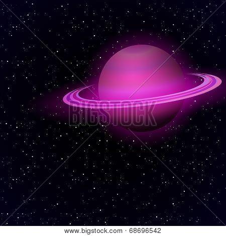 Cartoon Saturn in open space