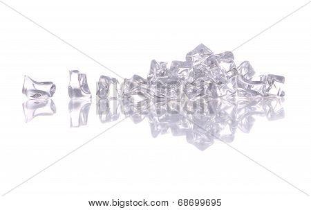 Pile of ice cracked on white background.