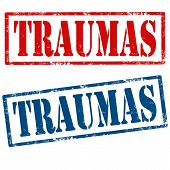 foto of trauma  - Set of grunge rubber stamps with text Traumas - JPG