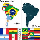 stock photo of south american flag  - Vector map of South America with flags and location on world map - JPG
