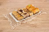 picture of baklava  - Sweet baklava on plate on table - JPG