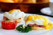 image of benediction  - Eggs Benedict served for delicious breakfast - JPG